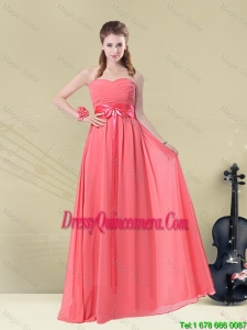 Perfect 2016 Sweetheart Watermelon Long Dama Dresses with Belt