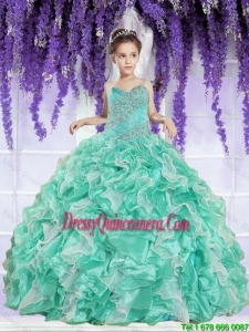 2016 Summer Discount Ruffles and Beaded Decorate Little Girl Pageant Dress in Apple Green