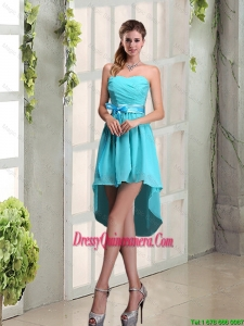 2016 Beautiful Sweetheart A Line Dama Dresses with Ruching and Belt