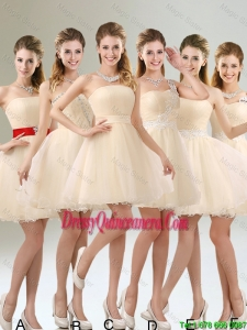2016 Perfect A Line Organza Dama Dresses with Mini Length