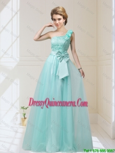 2016 Discount One Shoulder Dama Dresses with Hand Made Flowers and Bowknot