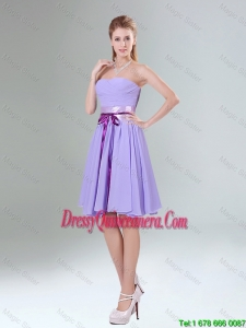 Beautiful Ruched Mini Length Dama Dresses with Bowknot and Sash