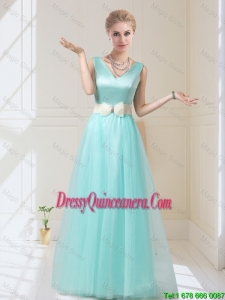 Beautiful V Neck Floor Length Dama Dresses with Bowknot for 2016
