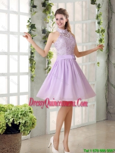 Discount High Neck A Line Chiffon Laced Dama Dresses for 2016