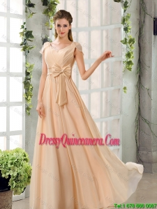 Fashionable 2016 Scoop Cap Sleeves Chiffon Dama Dresses in Champagne