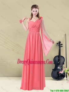 Beautiful Asymmetrical Column Ruched Dama Dresses in Watermelon Red