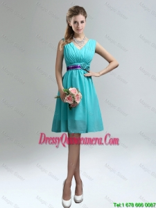 Elegant V Neck Ruched Beautiful Dama Dresses with Belt