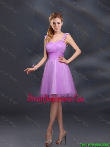 A Line Straps Appliques Beautiful Dama Dresses in Lilac