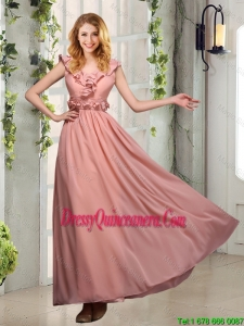Beautiful V Neck Empire Appliques Dama Dresses with Floor Length