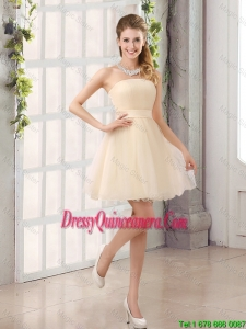 2016 Beautiful A Line Belt Mini Length Dama Dresses with Strapless
