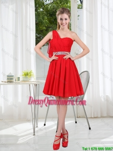 2016 The Most Popular One Shoulder A Line Dama Dresses with Ruching