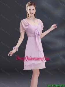 Beautiful A Line Square Ruched Dama Dresses with Cap Sleeves