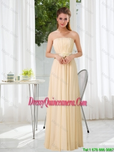 Beautiful Empire Strapless Ruched and Belt Dama Dresses with Floor Length