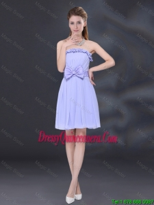 Beautiful Lavender A Line Strapless Dama Dresses with Bowknot