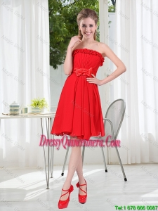 Beautiful Ruched Strapless Bowknot Dama Dresses in Red