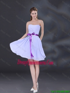 Beautiful Strapless Belt Dama Dresses in Lavender