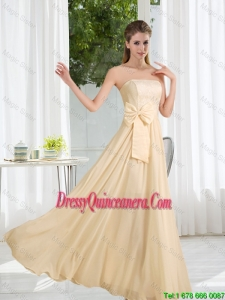 Beautiful Strapless Empire Bowknot Laced Dama Dresses for 2016