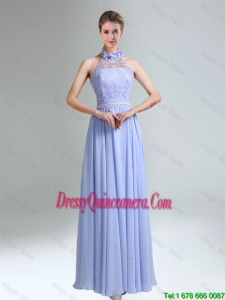 Beautiful Belt and Laced Halter Top Empire Dama Dresses for 2016