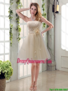 Beautiful Hand Made Flower Strapless Laced Dama Dress with Mini Length