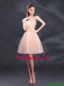 Beautiful One Shoulder A Line Appliques 2016 Dama Dresses