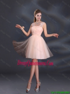 Beautiful Straps Appliques Dama Dresses in Baby Pink