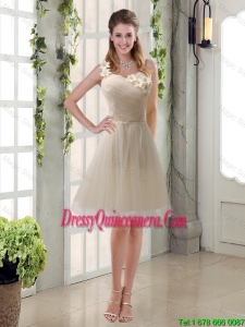 Champagne Ruched Hand Made Flowers One Shoulder Dama Dresses