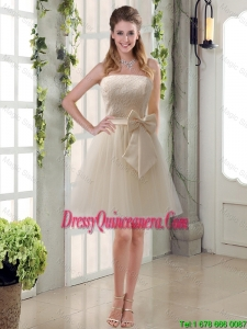 Popular Champagne Strapless Princess Bowknot Dama Dresses for 2016
