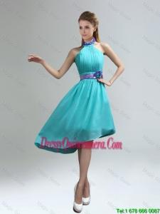 Beautiful High Neck Asymmetrical Multi Color Dama Dresses