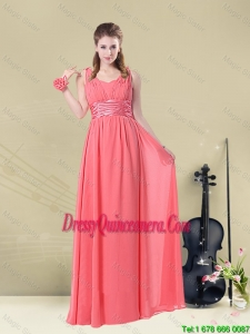 Popular Straps Floor Length Dama Dresses with Belt
