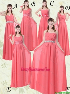 Popular Watermelon Red Dama Dresses with Ruching and Beading
