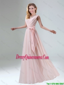 Fashionable Ruched Chiffon Popular Dama Dresses with Bowknot