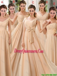 2016 Fashionable Ruched Champagne Chiffon Dama Dresses