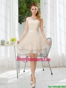 Popular Bateau Belt Mini Length Dama Dresses with Lace Up