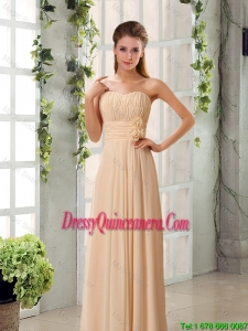 Popular Ruched Champagne Chiffon Dama Dresses with Sweetheart