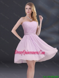 Popular A Line Sweetheart Dama Dresses with Ruhing and Belt