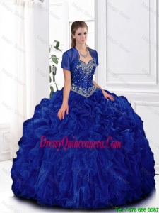 2016 Elegant Beaded and Ruffles Quinceanera Gowns in Royal Blue