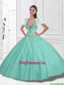 2016 New Style Sweetheart Beaded Quinceanera Gowns in Apple Green