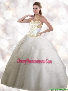 2016 Pretty Halter Top White Quinceanera Gowns with Appliques