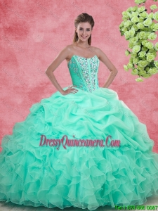 Luxurious Apple Green Quinceanera Gowns with Beading and Ruffles for 2016