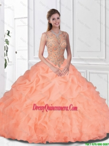 Perfect Beaded and Ruffles Watermelon Quinceanera Gowns with Bateau for 2016