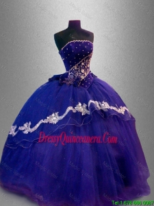 2016 Luxurious Strapless Quinceanera Dresses with Appliques and Beading