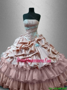 Luxurious Gorgeous Strapless Quinceanera Gowns with Ruffled Layers