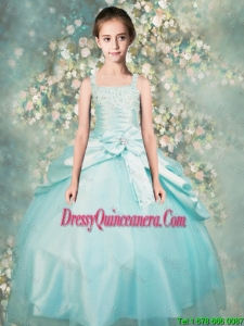 2015 Winter Popular Straps Beaded Mini Quinceanera Dresses in Aqua Blue