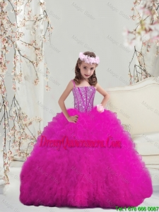2016 Spring Modern Ball Gown Fuchsia Mini Quinceanera Dresses with Beading and Ruffles
