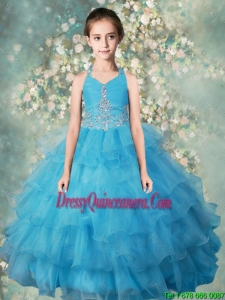2015 Winter Popular Halter Top Mini Quinceanera Dresses with Beading and Ruffled Layers