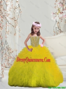 2015 Winter Popular Yellow Spaghetti Mini Quinceanera Dresses with Beading and Ruffles