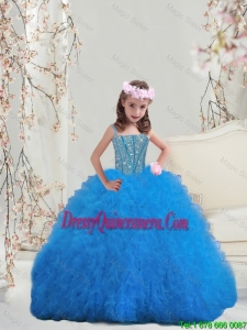 Perfect Spaghetti Teal Mini Quinceanera Dresses with Beading and Ruffles