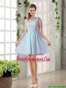 2016 Custom Made A Line One Shoulder Lace Dama Dresses for Party