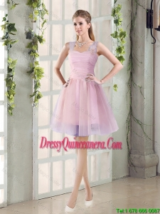 2016 Fall New A Line Straps Dama Dresses with Hand Made Flowers