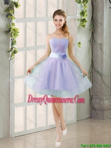 2016 Summer A Line Strapless Dama Dresses with Hand Made Flowers